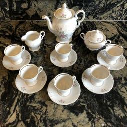 Vintage Wawel Poland POMPADOUR Pink Rosses Complete Tea Set