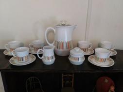 Vtg 60s Noritake Mardi Gras Percolator Coffee Tea Set Coffee