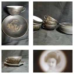 Vtg Eggshell Porcelain Tea Set 12pc Lithophane Satsuma Kutan