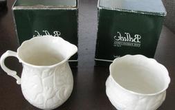 Duck Egg Belleek Novello Sugar and Cream Teapot Set