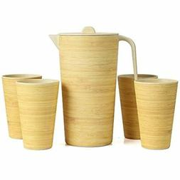 Water Pitcher Set With Lid And 4 Cups, Bamboo Carafe For Lem