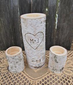 WHITE BIRCH Unity Candle Set~Personalized~Tea Candle Size~Ru