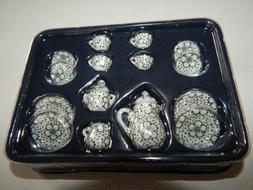 White Blue Floral Mini Tea Cup Set NIP