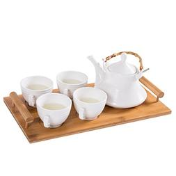 White Ceramic Tea Set with Teapot & 4 Teacups with Ribbed De