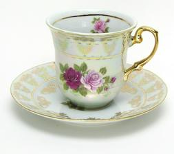4-Pc White Coffee Tea Set, 24K w/ Rhinestones, Bone China Cu