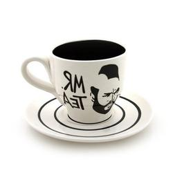 White Mr. T Teacup and Saucer
