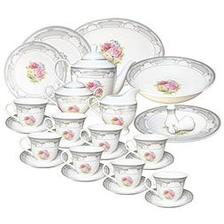 Set of 49 Pieces White Silver Floral Design Dinner Set 903A-