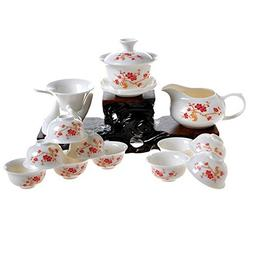 13-pieces White Porcelain Traditional Chinese Gongfu Gaiwan
