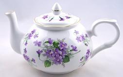 Wild Violet Chintz - English Bone China Teapot - Adderley of