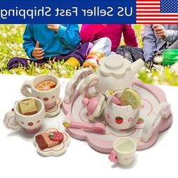 Wooden Kids Tea Set Role Play Kitchen Toys Pretend Cups Teap
