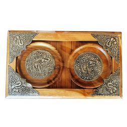 Wooden Serving Set 2 Coaster+Tray Elephant Emboss Decor Coff