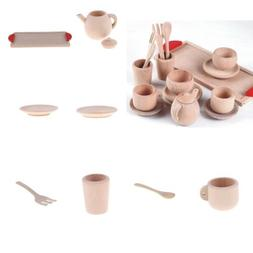Wooden Tea Set Afternoon Teatime Pretend Play Toy Gift for G