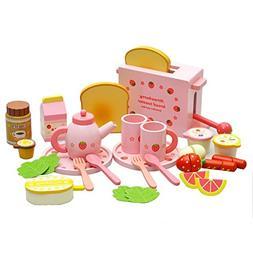 iPuzzle Wooden Tea Set Toy of Kitchen Breakfast&Afternoon Pr