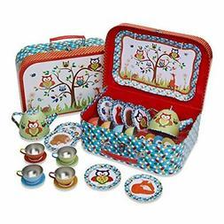 Woodland Animals Kids Tin Tea Set & Carry Case 14 piece Tea