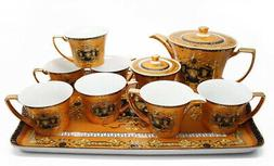 Royalty Porcelain 10-pc Yellow Dining Tea Set with Tray, Lux