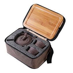 Queena Portable Yixing Zisha Tea Set Handmade Purple Clay Po