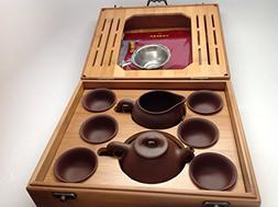 Yixing Tea Set Brow Zhisha Facy Set with a Medium Size Bambo