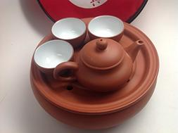 Yixing Travel Tea Set One Pot 3.5oz and 3cup with a Tea Tray