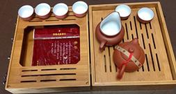 Yixing Tea Set Red N White with Travel Bamboo Tea Tray Set 8