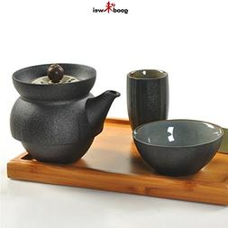 Yixing Zisha Clay Single Tea Set - including Bamboo Tray and
