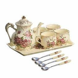 YOLIFE Red Rose Ivory Ceramic Tea Set,Vintage Tea Set With T