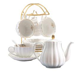 YoungQI Porcelain Tea Coffee Sets with Teapot Teaspoons 8 OZ