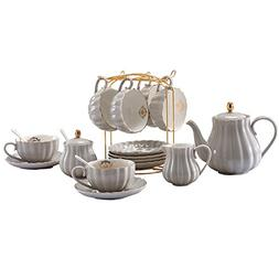 YoungQI Porcelain Tea Coffee Sets with Teapot Sugar Bowl Cre