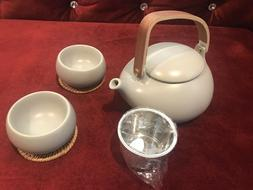 ZENS Gray Matte Finish Tea Set Smooth texture Ceramic Teapot